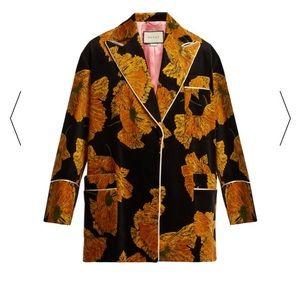 Gucci   Poppy Print Black Yellow Velvet Ja…
